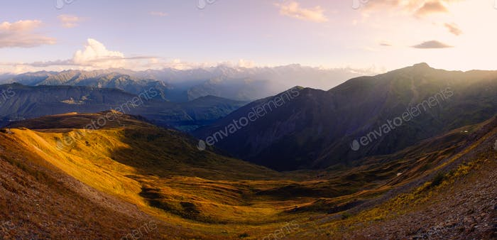 Mountain range landscape panoramic view at beautiful sunset, Svaneti, Georgia