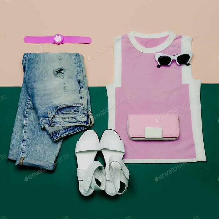 Stylish Summer Set. Fashionable clothing and accessories. Minima