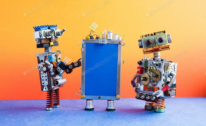 Mobile smartphone gadget and robots. Funny robotic toy characters, creative design touch screen