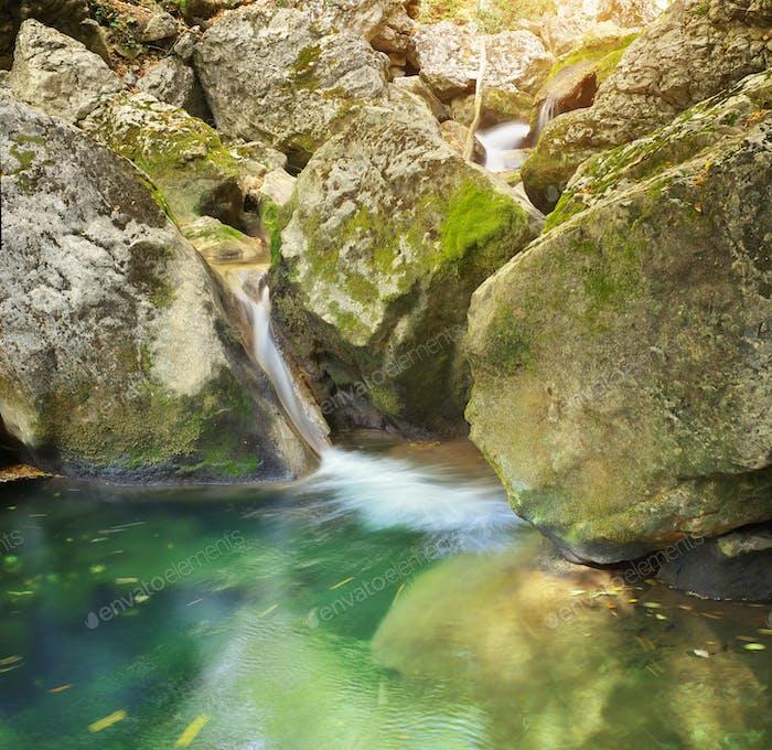 River cascade of river.