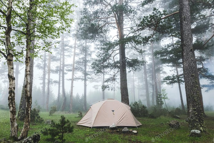 Grey lightweight tent in foggy forest. Cold and wet misty weather in hike, overnight stay in camping