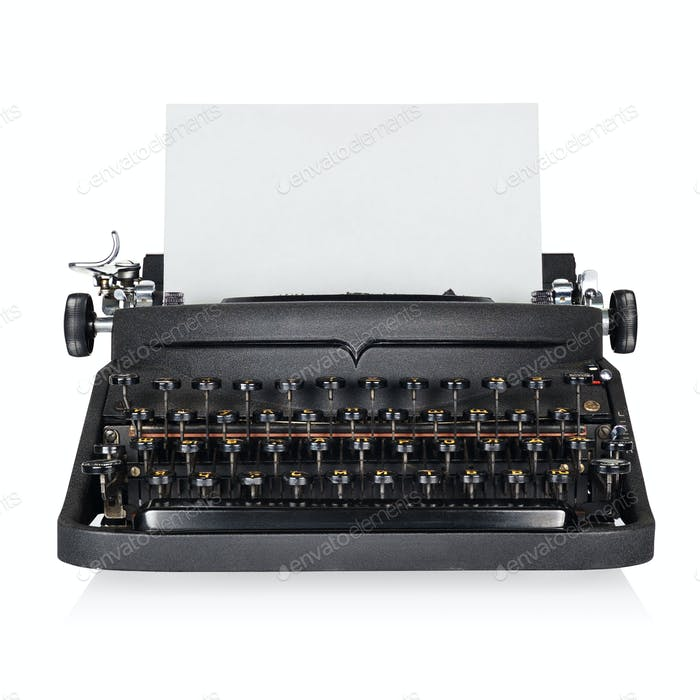 Black typewriter with copy space isolated on white background