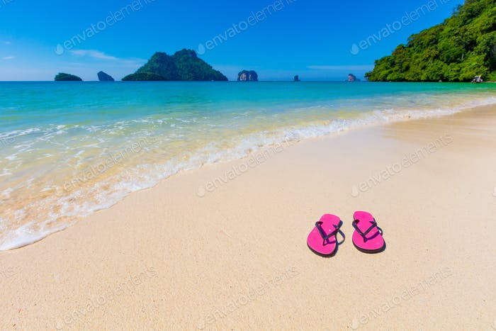 Pink Flip Flops On Shore At Aonang Beach