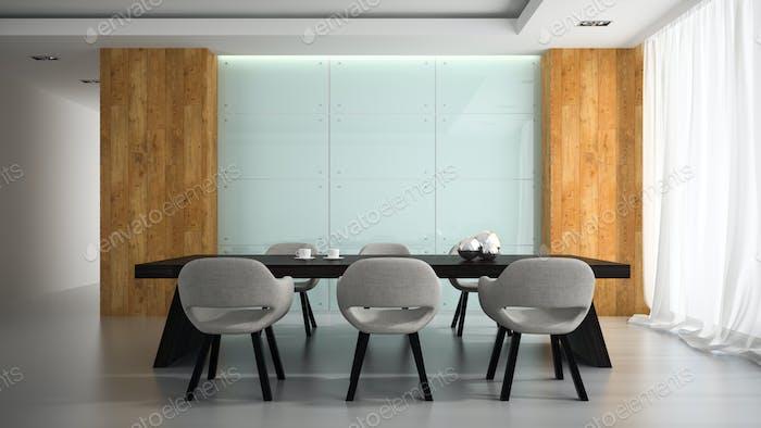 Modern interior of meeting room 3D rendering