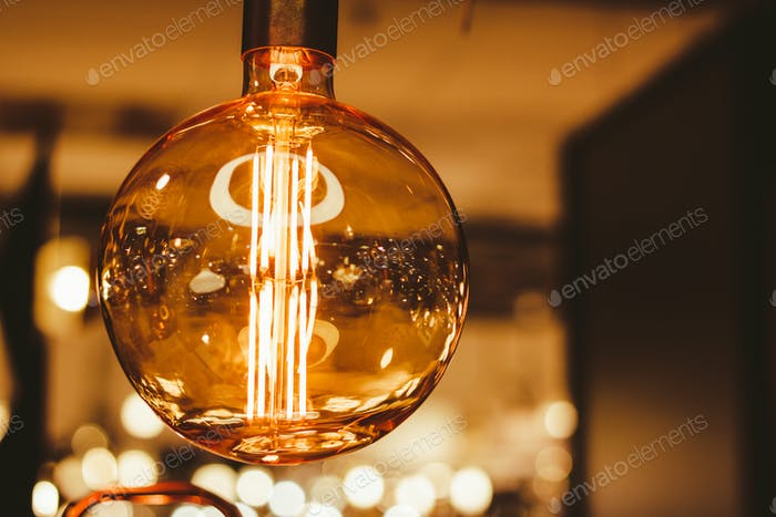 Closeup view on a modern electricity bulb.