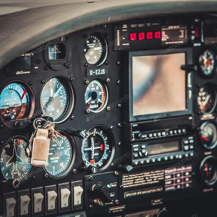 Vintage aircraft cockpit detail. Retro aviation, aircraft instru