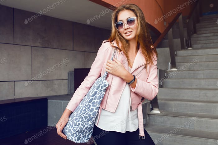 young beautiful woman traveling in europe