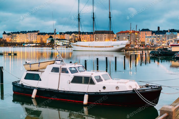 Helsinki, Finland. Marine Boat, Powerboat In Evening Illuminatio