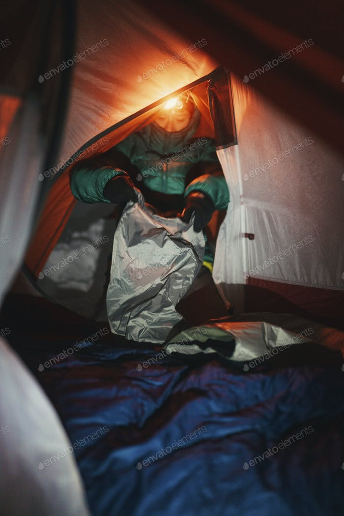 Cold night in a tent