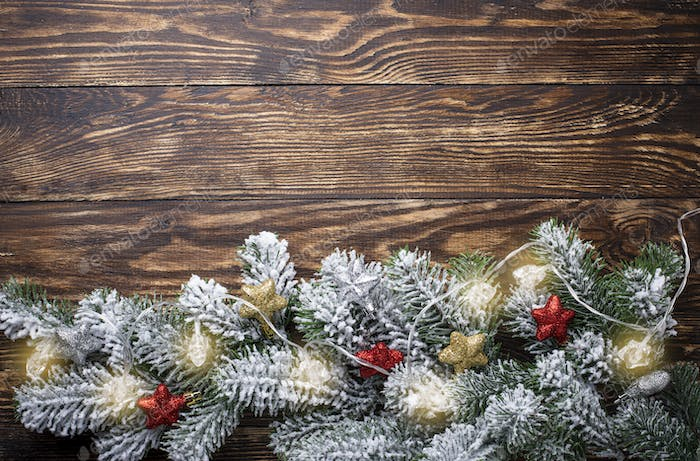 Christmas background with star garland
