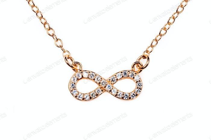 Bronze infinity pendant with diamond