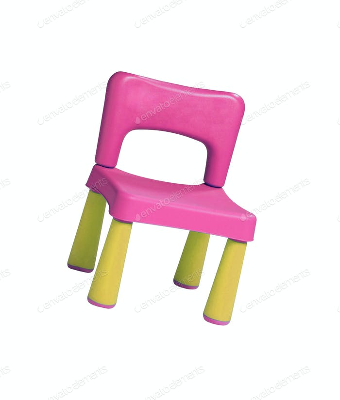 baby plastic stool on a white