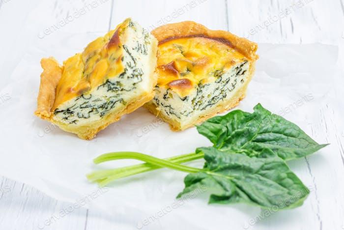 Kuchen mit Ricotta und Spinat, Nahaufnahme