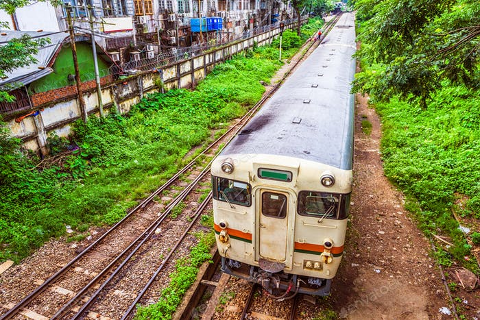 Train in Yangon Myanmar