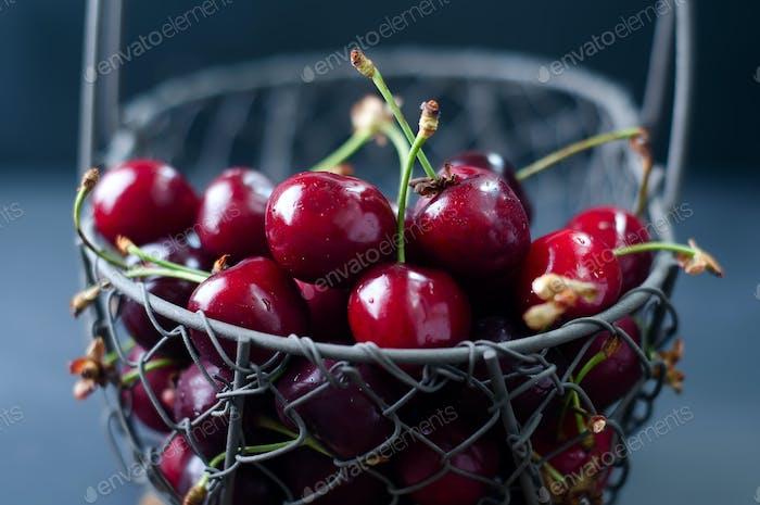 Cherries on black table