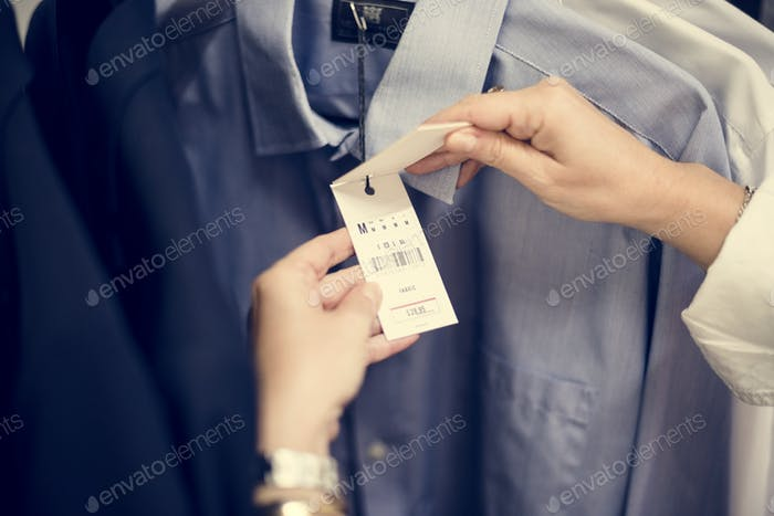 Customer checking the price of a product