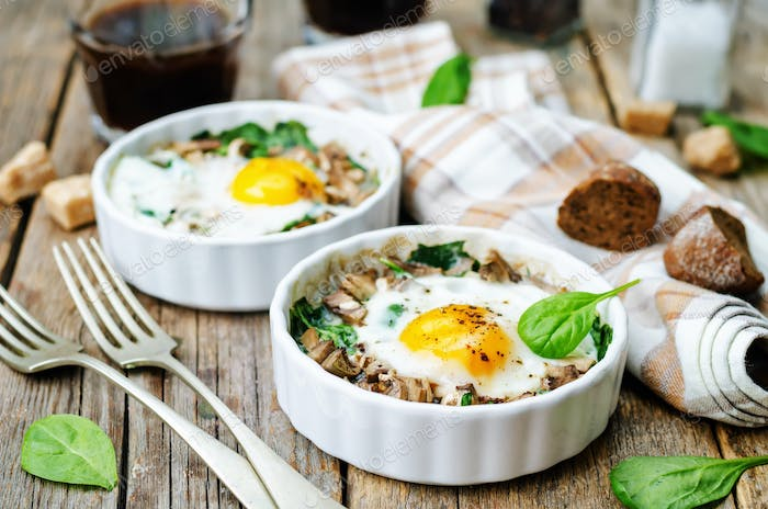 spinach, mushrooms baked egg