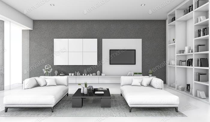 3d rendering white loft living room with sofa and bookshelf