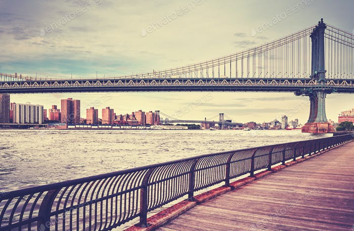 Vintage stylized Manhattan Bridge, New York, USA