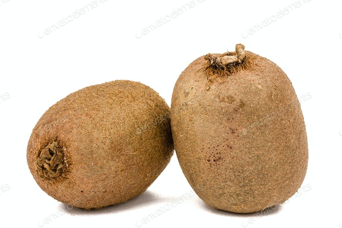 Two kiwi fruit, isolated on white background