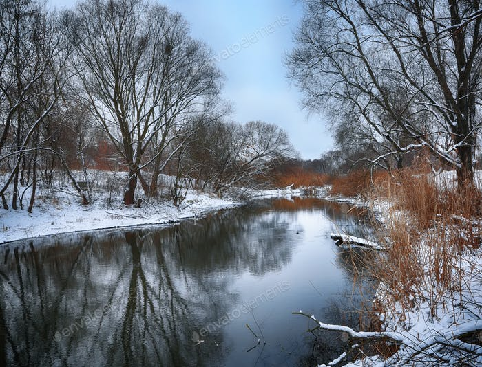 Winter landscape by a river