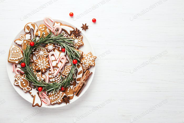 Thumbnail for Plate with Christmas Gingerbread Coockies on Wooden Table.
