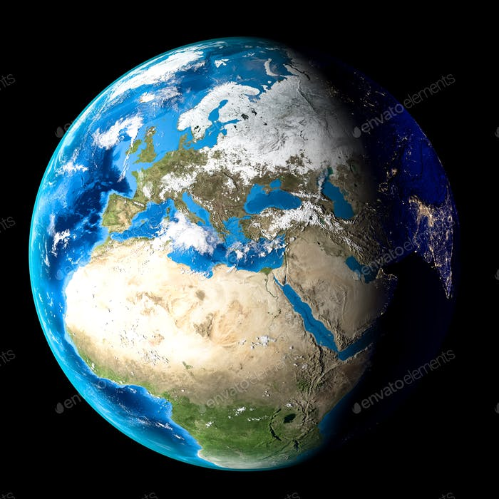 Planet Earth with clouds, Europe and Africa. Black background. 3d Render
