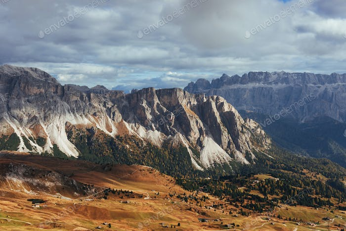 Far away. Outstanding hills of the Seceda dolomite mountains at daytime