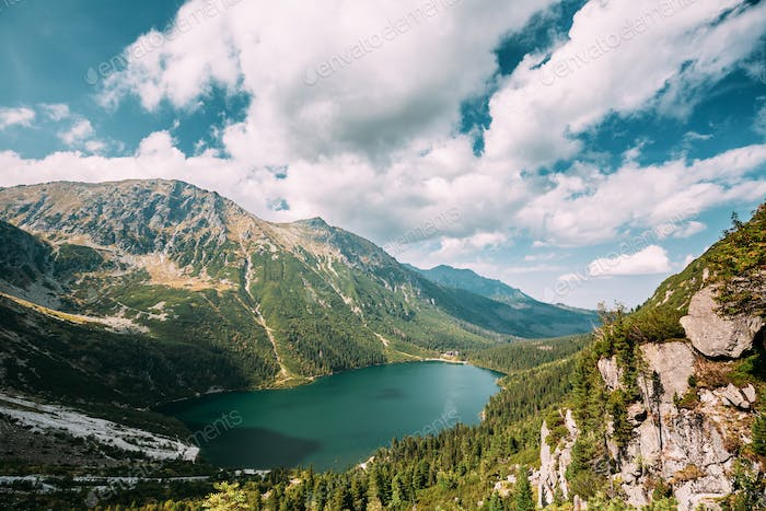 Tatra National Park, Poland. Famous Mountains Lake Morskie Oko Or Sea Eye Lake