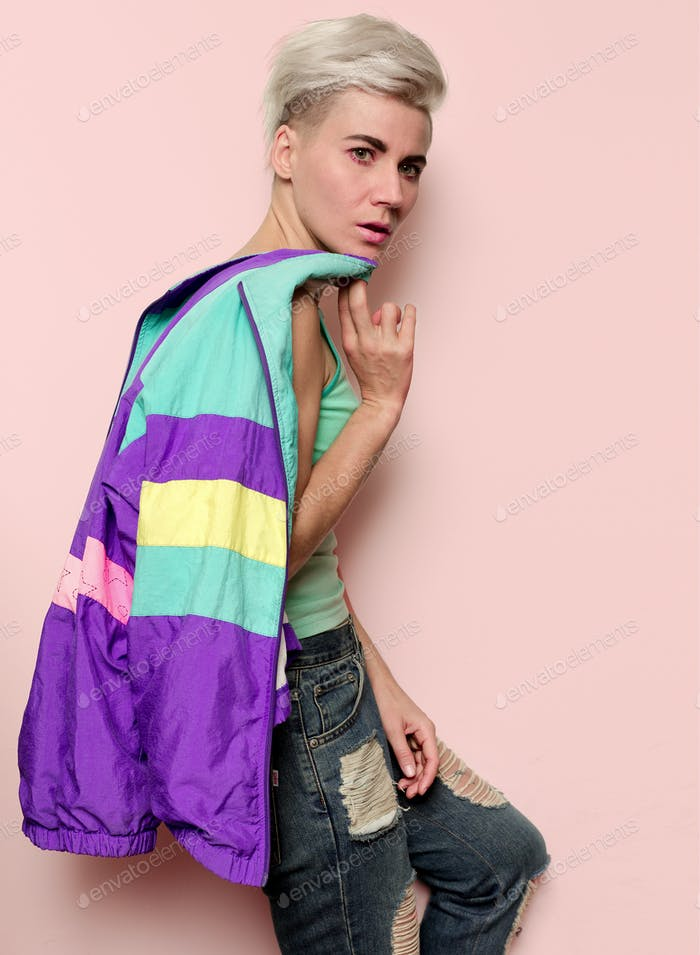 Fashion Stylish Blonde Vintage Clothing Windbreaker Rave era