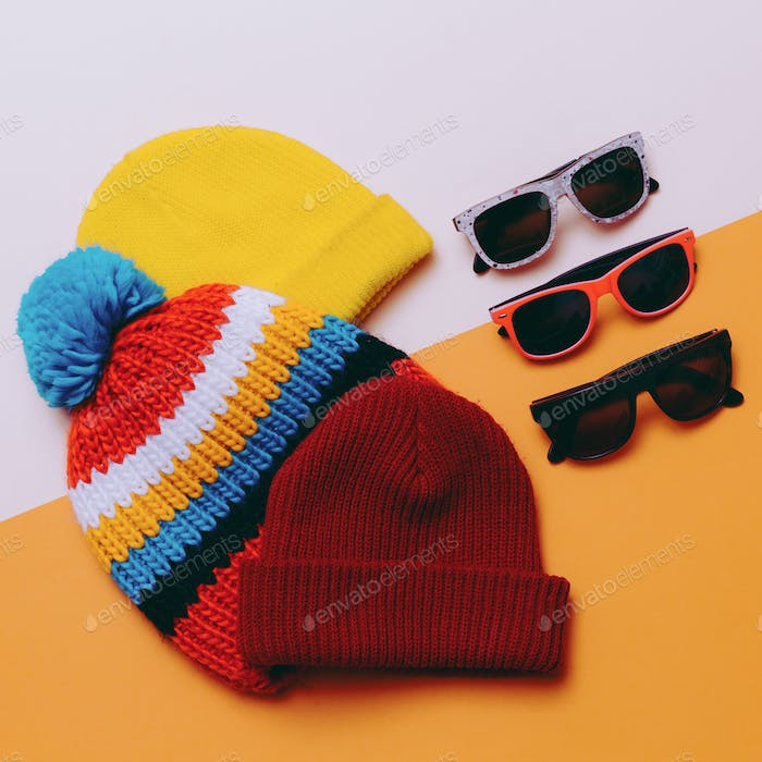 Bright urban. Set hats and glasses. Skateboard and snowboard fas