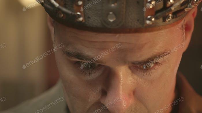 Scientific experiment with sci-fi helmet