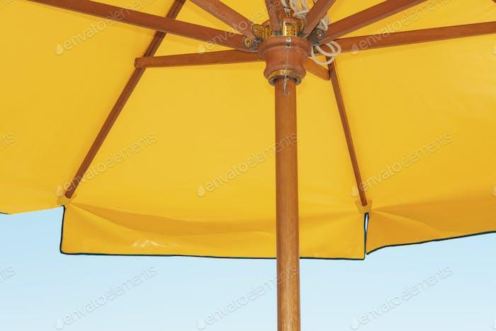 Colorful beach umbrella close up