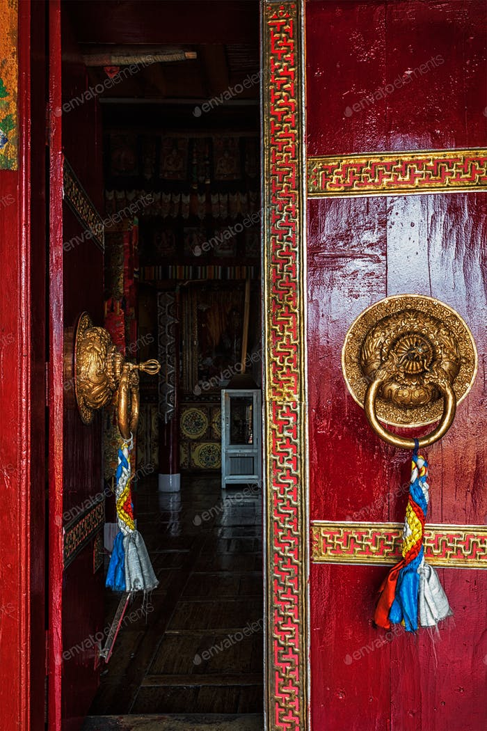 Open door of Spituk monastery. Ladakh, India
