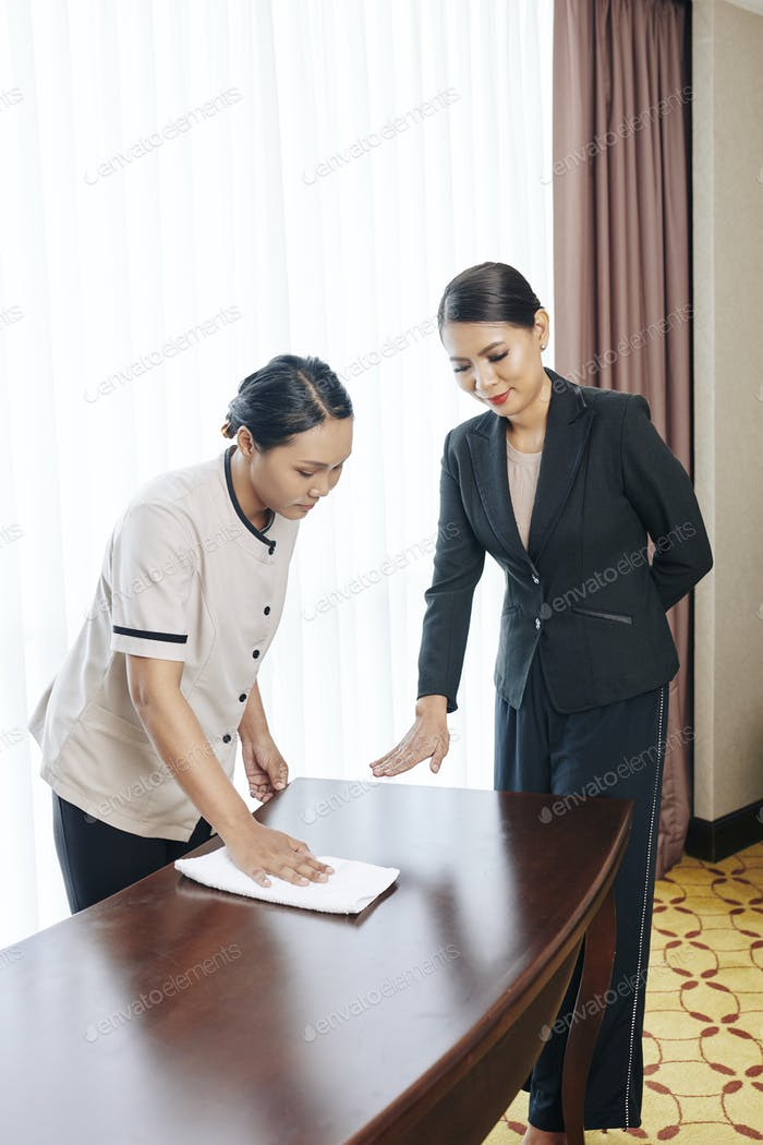 Manager of the hotel controlling the work