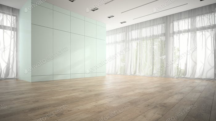 Empty room with blue cupboard 3D rendering
