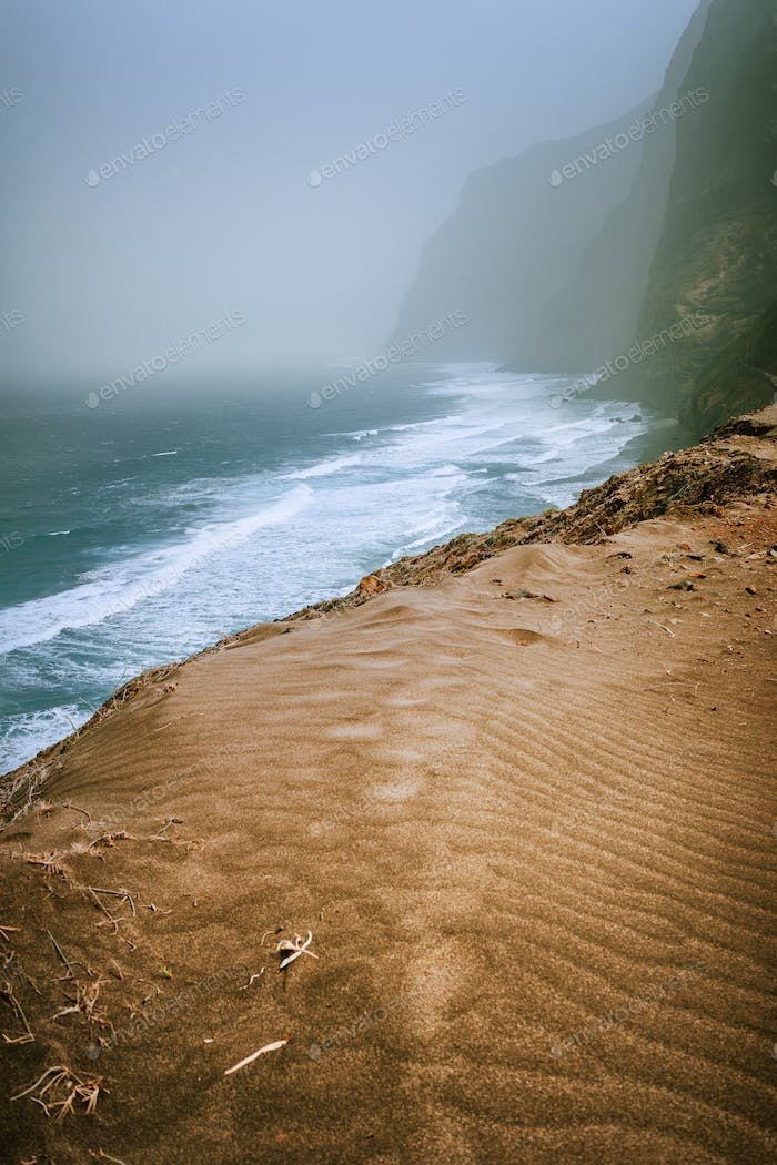 Santo Antao, Cape Verde - Sand dune on the hike trail from Cruzinha da Garca to Ponta do Sol. Moody