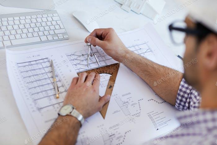 Engineer Drawing Scheme Closeup