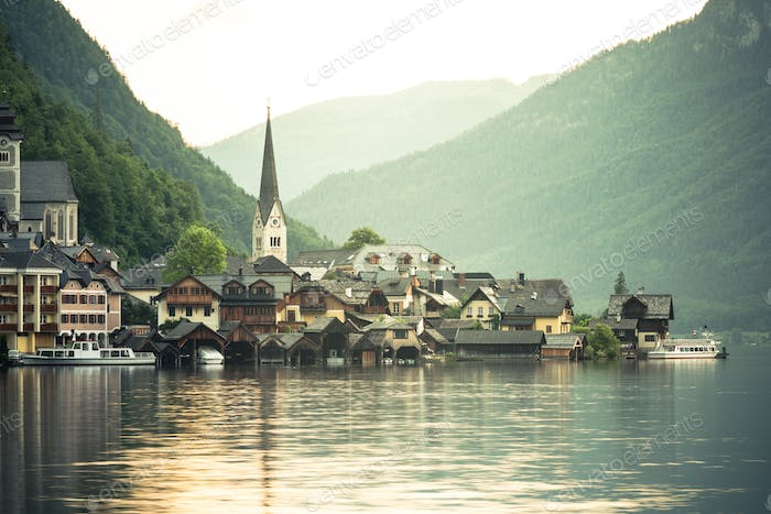 Sunrise over famous Hallstatt fisherman village, Austria