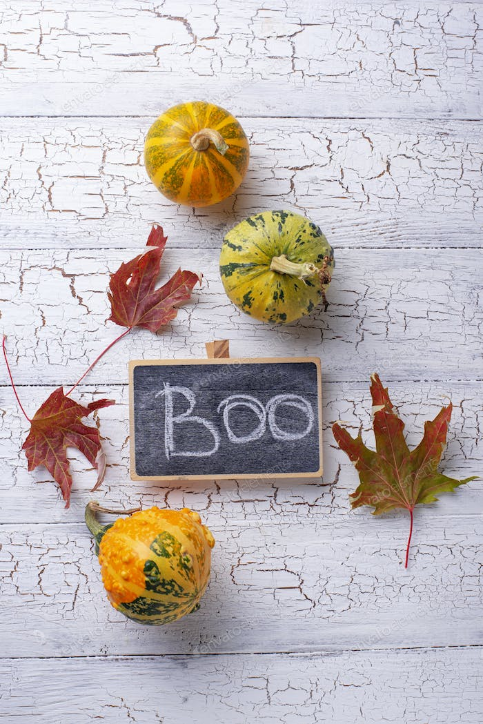 Halloween background with text Boo