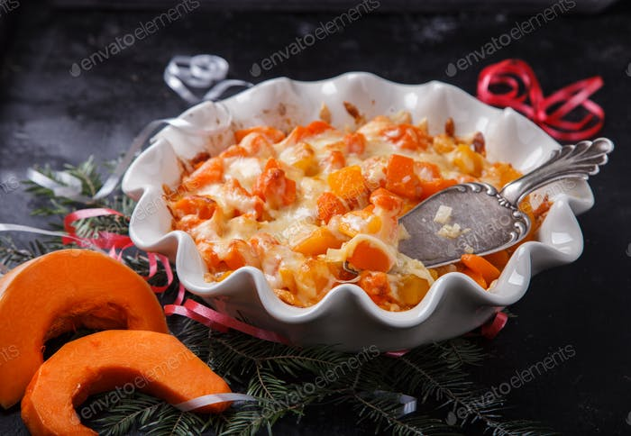 Casserole of pumpkin with onions and cheese. Step by step recipe 5