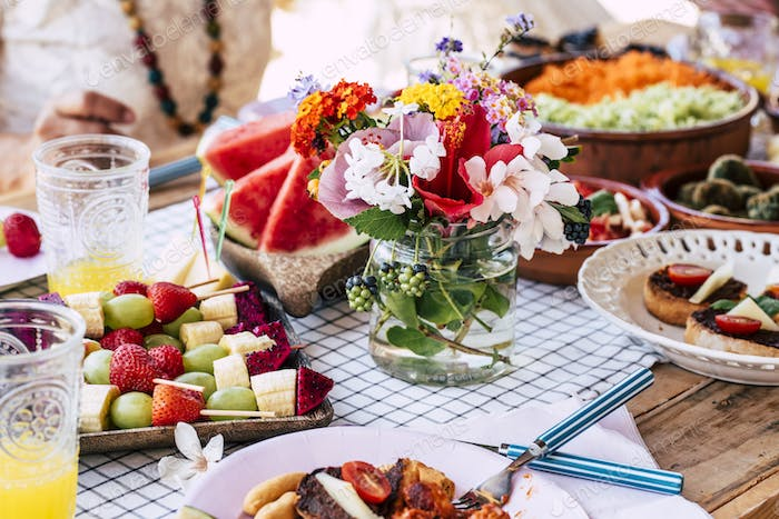 Close up of table full of seasonal fruits and vegetables