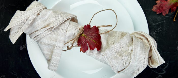 Banner of Fall table setting for Thanksgiving day celebration
