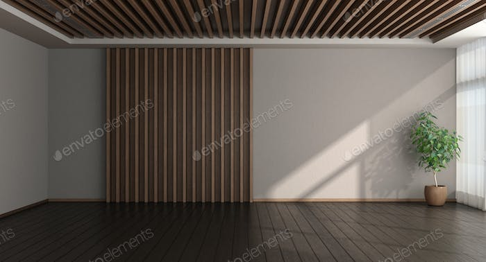 Empty room with wooden paneling on background