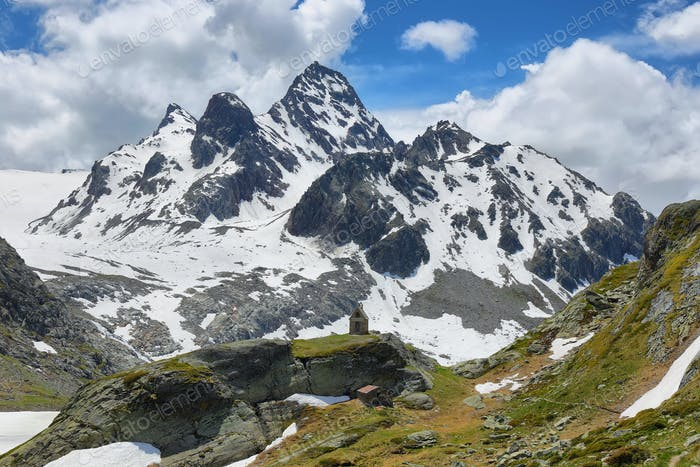 Mountain range view on the way to Rutor Glacier, Aosta Valley, Italy
