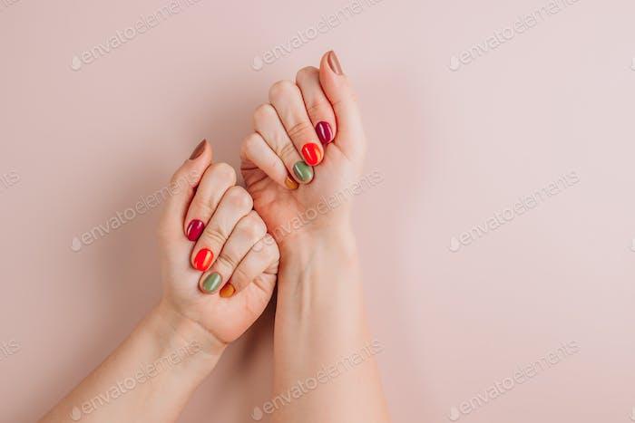 Stylish trendy autumn female manicure