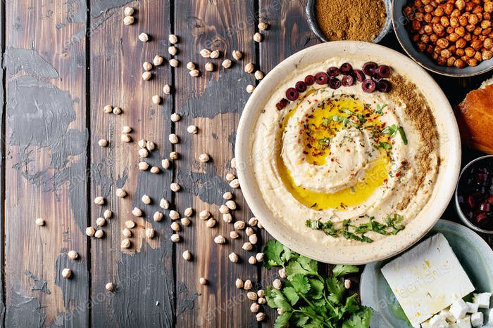 Hummus with olive oil and ground cumin