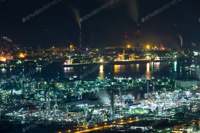 Mizushima coastal industrial area in Japan