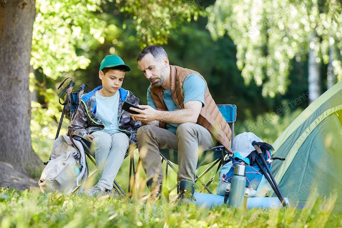 Father and Son using Navigation App