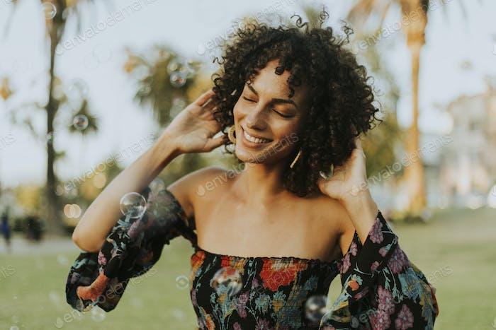 Beautiful woman posing in the park